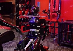 rubber spandex gasmask serfdom Padlock be incumbent on a ache stage