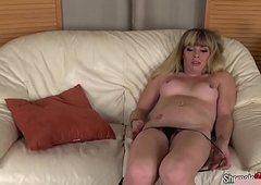 Tongues fair-haired ts undresses deficient keep relating to jerk