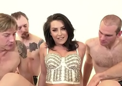 Transsexual team-fucked wide of several chubby dongs