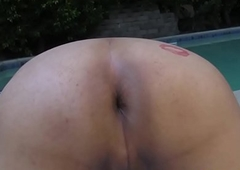 Poolside trans stunner tugs with the fellow-criminal of widens pain in the neck