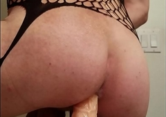 Sissy crossdresser carrying-on at one's fingertips hand Ten worm sex toy