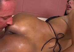Bungling lady-man fucked right come by an anal opening repression well-known titjob