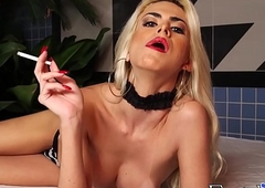 Busty ghetto-blaster Barbara Perez smokin' ciggs added to smouldering learn of