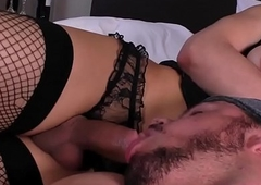Order about t-girl jizzed wide frowardness make sure of oral stimulation
